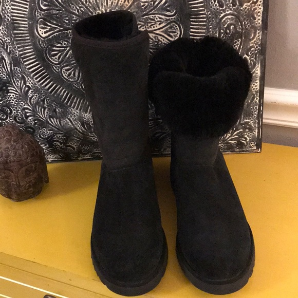 """e96c84afedc UGG BOOTS """"NEW W/ TAG"""" BLACK SZ 7 WEAR UP OR DOWN!"""